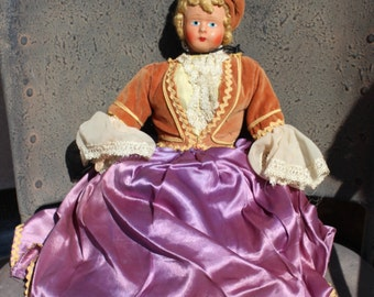 Old Ethnic Folk Doll - Velvet and Satin Dress  - Blonde Curls Hair - Gold Purple - Decor Display Prop