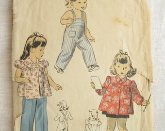 DuBarry 5870 Children 1940s Bib Overalls and Smock Vintage Sewing Pattern Size 6