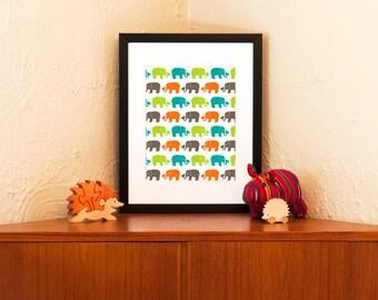 Herd of Elephants Print - Modern Nursery Decor in Orange, Green, Aqua & Grey (Free Shipping in US)
