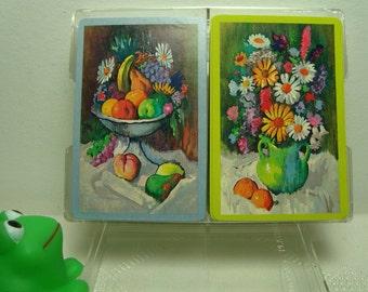 Whitman Card Decks 2 Fruit Flowers Blue Green Vintage Playing Cards