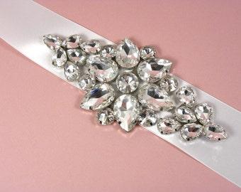 Crystal Bridal Sash, Rhinestone Bridal Sash, Wedding Belt, Bridal Sash, Wedding Sash with Luxurious Satin Ribbon - White or Ivory