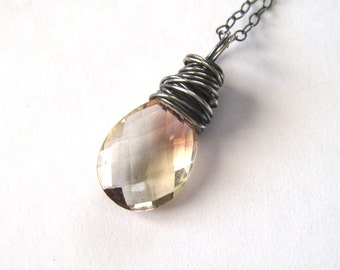 Oregon Sunstone Necklace, Sterling Silver, Wire Wrapped, Peach Pink Natural Gemstone Pendant