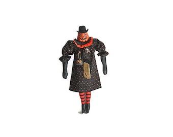 Pumpkin Doll, Orange Pumpkin, Jack O Lantern, Witch Shoes, Halloween, Folk Art Doll, Orange and Black, Black, Doll, Star, Gothic, Chalkware