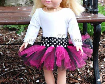 """Hot Pink Diva Doll Tutu and Matching Daisy Hair Clip - Fits American Girl Dolls, other 18"""" Dolls, and 15"""" Dolls"""