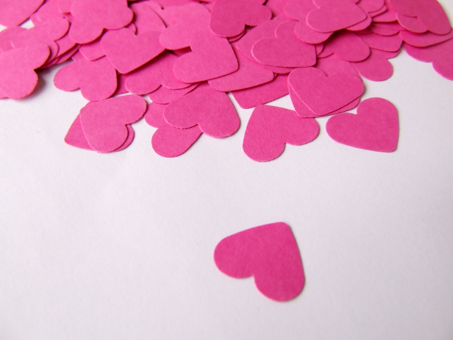 Wedding confetti hearts Valentines day Pink Paper hearts