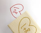 "Romantic Heart Stamp. Wedding stamp for DIY brides  // Custom Stamp 1""x1"""