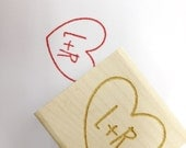 "Romantic Heart Stamp. Wedding stamp for DIY brides  // Carved Heart with Initials // Custom Stamp 1""x1"""