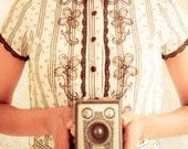 Fine Art Photography, PRINT SALE, Portrait Art, Girl with Camera, Self Portrait, Kodak Brownie Camera, Vintage Camera, Home Decor, Wall Art