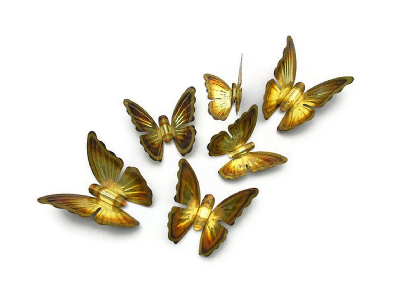 Wall Art Glass Butterflies : Brass butterflies golden metal butterfly vintage wall art or