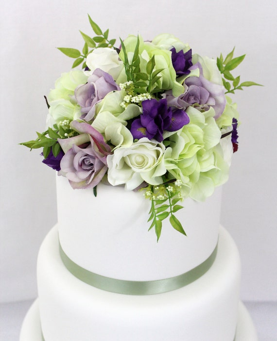 Wedding Cakes With Flowers: Wedding Cake Topper Purple Rose And Green Hydrangea Silk