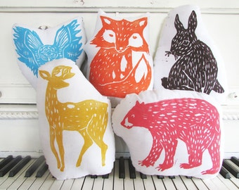 SALE. 25% OFF. Choose ANY 5 Small Pillows in any Colors. Hand Block Printed.  Made to order.