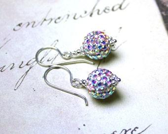 Starlight Crystal Earrings - Pave Crystal Ball Earrings - Bling Ball Earrings in Crystal AB - Sterling Silver and Swarovski Crystal
