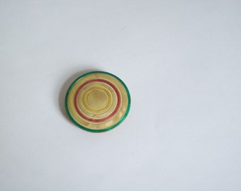 Antique bakelite brooch celluloid carved bullseye round brooch must see free shipping to USA