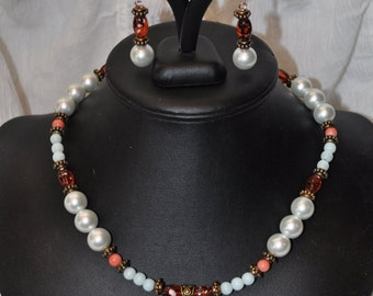 Coral and Turquoise Necklace with Glass Pearls