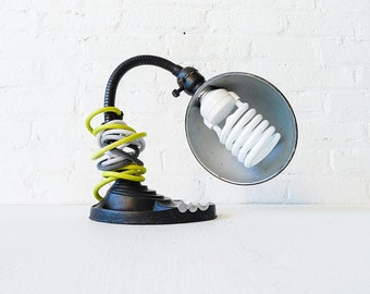 OOAK Vintage Industrial Lamp - Black Antique Cast Iron Table Light w/  Ombre Dyed Yellow-Grey Color Cord