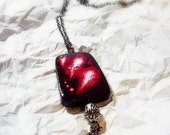 Necklace - Black and Red Wooden Pendant - Wearable Art - OOAK