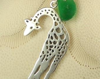 RARE Emerald Green Sea Glass And Giraffe Necklace Pendant Sterling Silver Eco Friendly