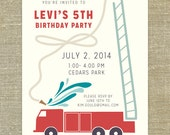 Firetruck Birthday Party Invitations set of 20 with matching envelopes