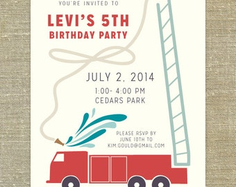 Firetruck Birthday Party Invitations & thank you cards set of 30 with matching envelopes