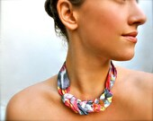 Neon Rose Statement Necklace - Fabric Scarf Jewelry