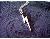 Tiny Silver Lightning Bolt Necklace - Sterling Silver Lightning Bolt Charm on a Delicate Sterling Silver Cable Chain or Charm Only