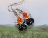 UU Chalice Jewelry - Earrings with Fireopal Swarovski Crystal, Silver and Black Onyx