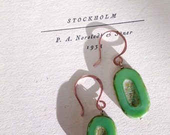 A Verdant Spring Earrings featuring Czech Glass and hand forged copper earwires