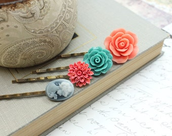 Flower Bobby Pins Coral Rose Hair Pins Turquoise Teal Blue Coral Red Dahlia Hair Slides Floral Clips Cameo Hair accessories Set of Four (4)