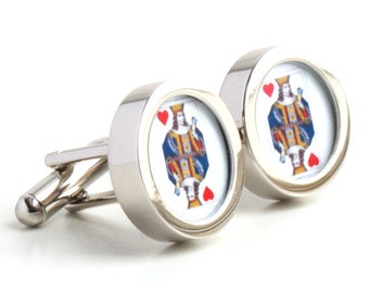 King of Hearts Playing Card Cufflinks