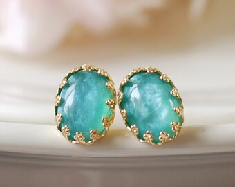 Blue Lace Crown Post Stud Earrings. 18K Gold Plated, Ocean Blue Cabochon Stud Earrings. Many Colors Available
