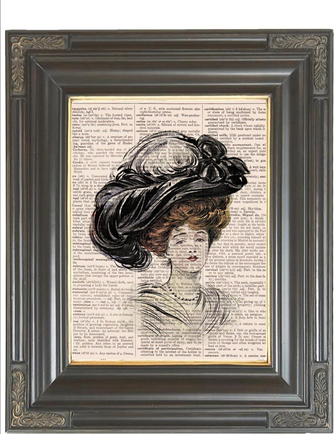 Victorian feather hat wall art print coupon dictionary art for Victorian wall decor