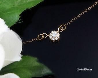 Cubic Zirconia Necklace, Minimal Necklace, Tiny Necklace, Delicate Gold Necklace, Dainty Necklace, Bridal Necklace, Wedding Necklace, Bride