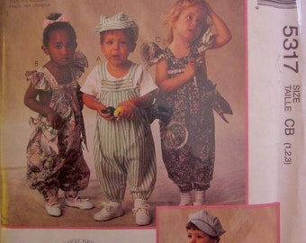 McCalls 5317 Boy Girl Jumpsuit or Romper and Hat Sewing Pattern Size 1, 2 Breast Chest 20 to 21