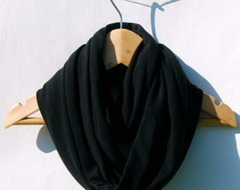 Black Infinity Scarf - Circle Scarf - Organic Jersey  - Organic Clothing -  Eco Friendly - Jersey Scarf