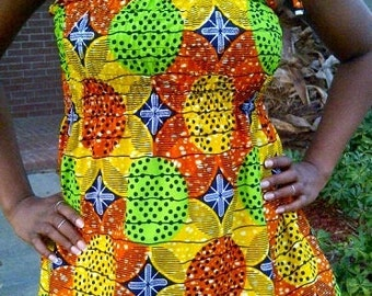African Print Smocked Strap Top