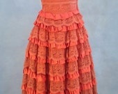 1950s Coral Taffeta and Lace Prom Dress (S)