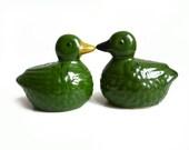 French Vintage Salt & Pepper Shakers, Green Duck, Ceramic