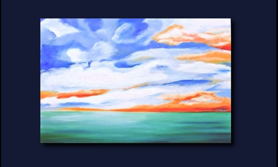 SKY and WATER -  Huge Original Oil Large 36X24 - signed by the artist- (sky, clouds, water)