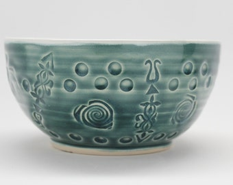 Pottery Bowl, Wheel Thrown Porcelain  Serving Bowl In Gray-Green and Gloss white