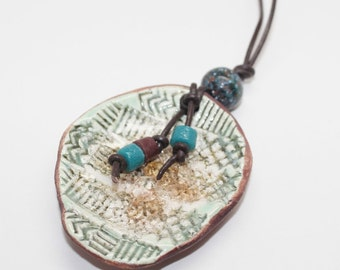 Handmade Stoneware Pendant Necklace with Glass Beads on a Brown Leather Cord