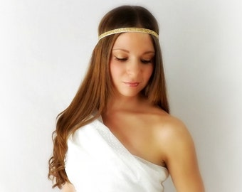 Golden Goddess - White and Gold Glitter Stretch Headband for Toga Costume Gypsy Head piece Hair Jewelry Everyday
