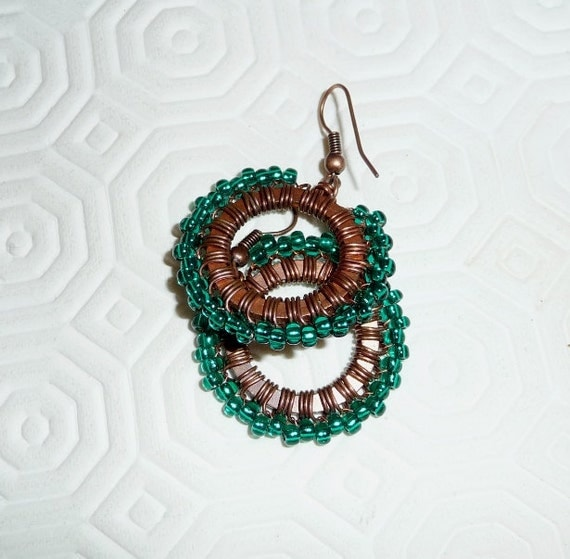 Copper earrings, wire wrapped, oxidized, pattinated, glass, teal, green, hoops, wire work, beaded, circle, spring,