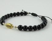 Valentine's Day Gold Love Charm Gift for Her Onyx Macrame Bracelet 2016 Trends Style Guide Sterling Silver Gold Beads Base Chakra Bracelet