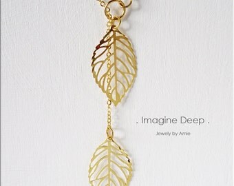 50% off SPECIAL - Gold Leaf Lariat Necklace - Yellow Gold Plated Leaves