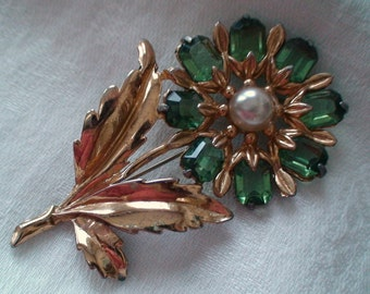 1930's Statement Brooch, Green Glass, Emerald Cut Stones, Open Backed Setting