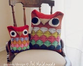 Owl Pillow Knitting Pattern PDF - Amigurumi toy & animal Pillow - Instant DOWNLOAD