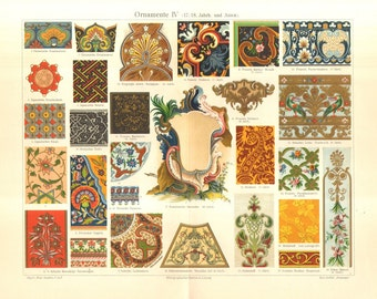 1904 Ornaments, Weaving Motifs and Patterns from the 17th-18th Century and Asia Original Antique Chromolithograph to Frame