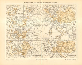 1896 Original Antique Historical Map of Austria and Hungary from Middle Ages