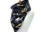 Reversible tube scarf printed cotton and black fleece