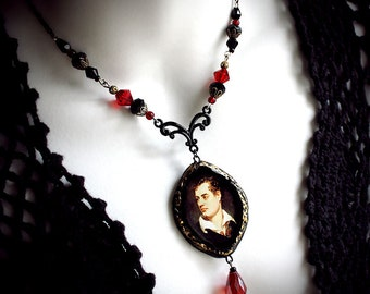 Lord Byron, filigree, gothic, romantic, victorian, poet, vampire, dark, red glass beads, black, regency, English writer, polymer clay, gold